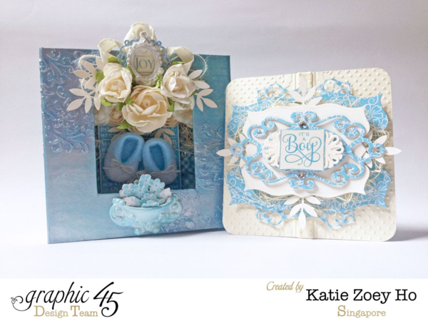 Precious Memories Mixed Media Box with a great patina look and beautiful Baby Boy card inside by Katie! #graphic45