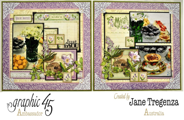 Monthly March Double Layout by Jane Tregenza using Time to Flourish #graphic45