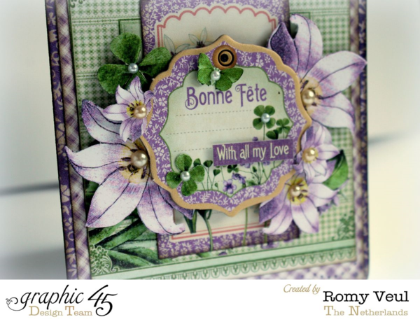 """""""Bonne Fete - with all my love!"""" Time to Flourish tag by Romy #graphic45"""