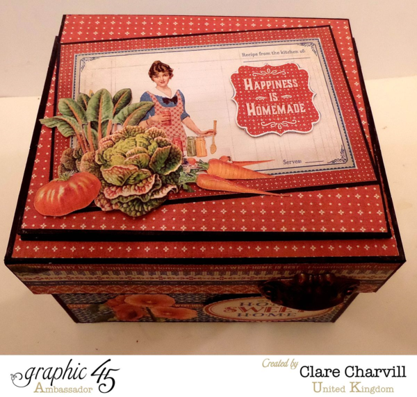 Gorgeous fussy cutting embellishments on this Home Sweet Home recipe box by Clare #graphic45