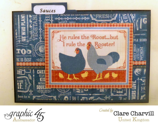 """Sauces"" card in Clare's Home Sweet Home recipe box #graphic45"