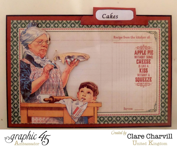 """""""Cakes"""" card in Clare's Home Sweet Home recipe box #graphic45"""