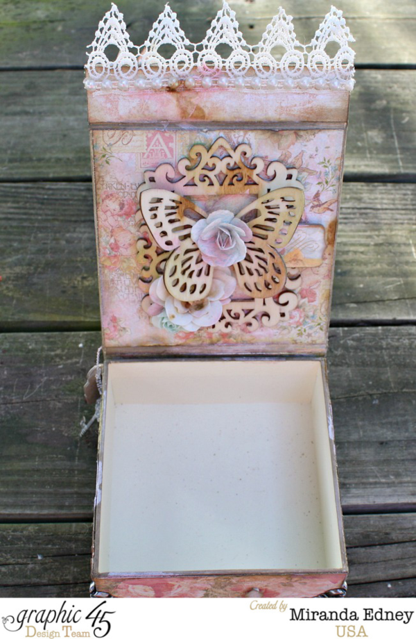 Butterflies, flowers, lace, and more on this gorgeous mixed media masterpiece by Miranda using Baby 2 Bride #graphic45
