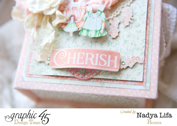 """""""Cherish"""" - check out this gorgeous altered Baby 2 Bride box by Nadya #graphic45"""