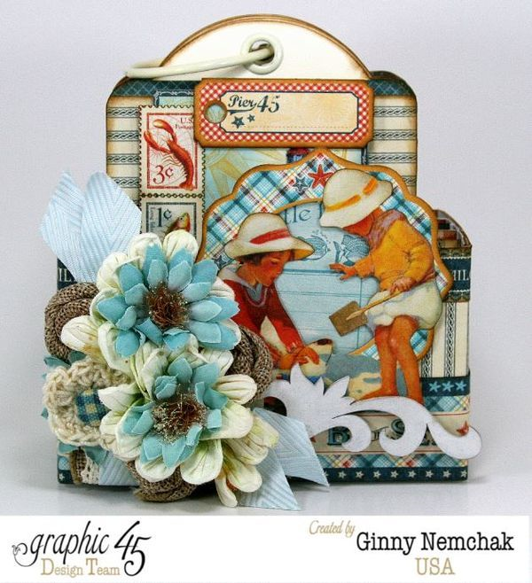 By the Sea tag mini album by Ginny Nemchak #graphic45