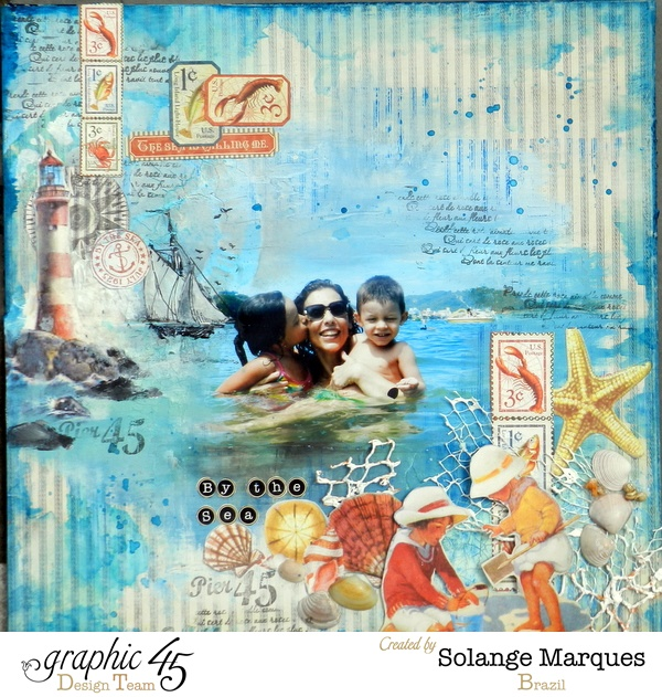 Learn how to make this gorgeous By the Sea layout with a tutorial by Solange #graphic45