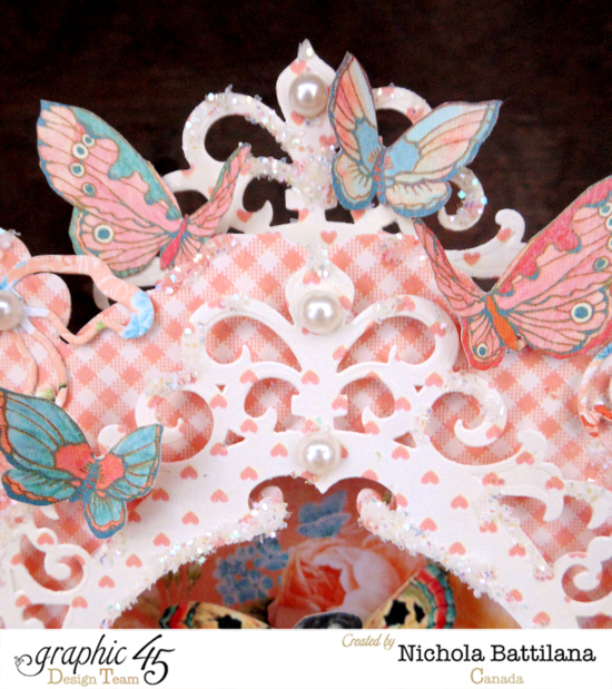Beautiful butterflies, pearls, and glitter on this fairy tale stage by Nichola using Spellbinders and Graphic 45 #graphic45