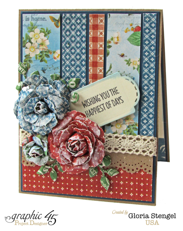 """Wishing you the Happiest of Days"" Home Sweet Home card by Gloria #graphic45"