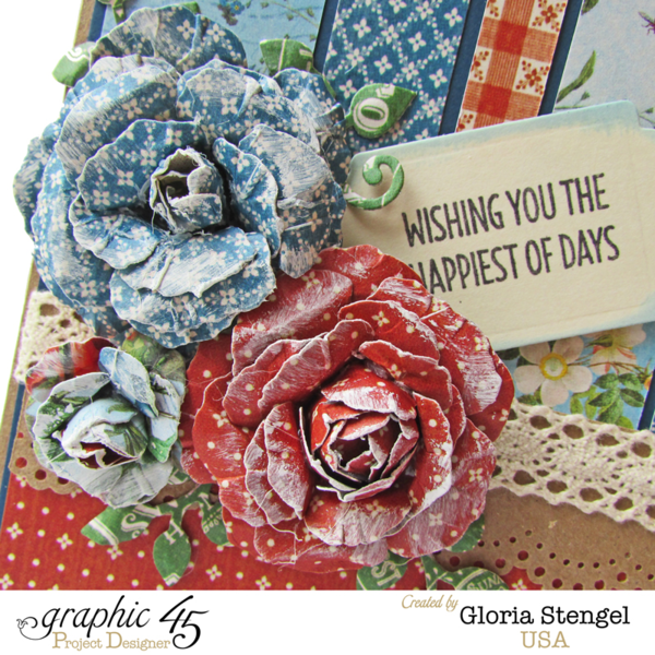 "Gorgeous handmade flowers on this ""Wishing you the Happiest of Days"" Home Sweet Home card by Gloria #graphic45"