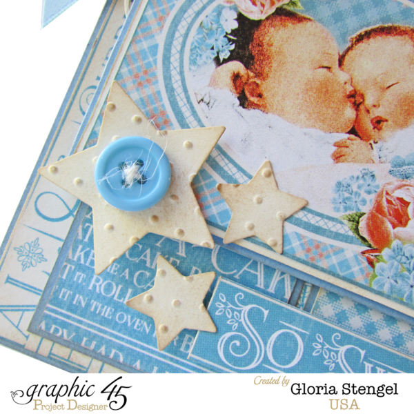 "Stars, buttons, and sweet imagery on this ""So Sweet"" twins baby card by Gloria using Precious Memories #graphic45"