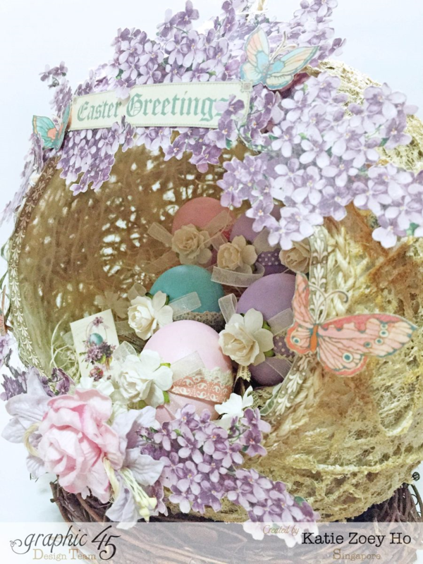 Gorgeous purple flowers on this Easter Sweet Sentiments nest by Katie #graphic45