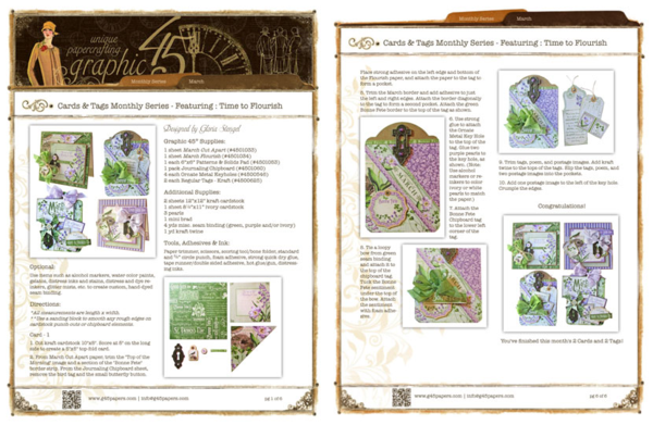 Make these Time to Flourish cards and tags with a free project sheet from Graphic 45! #graphic45