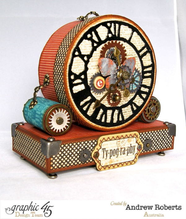 The embellishments on this clock face are perfection! By Andrew Roberts using Typography #graphic45