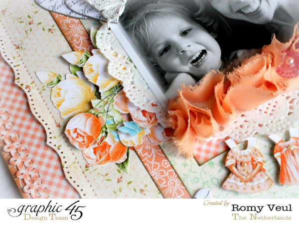 Love these florals and fabric and many textures on Romy's Precious Memories layout #graphic45