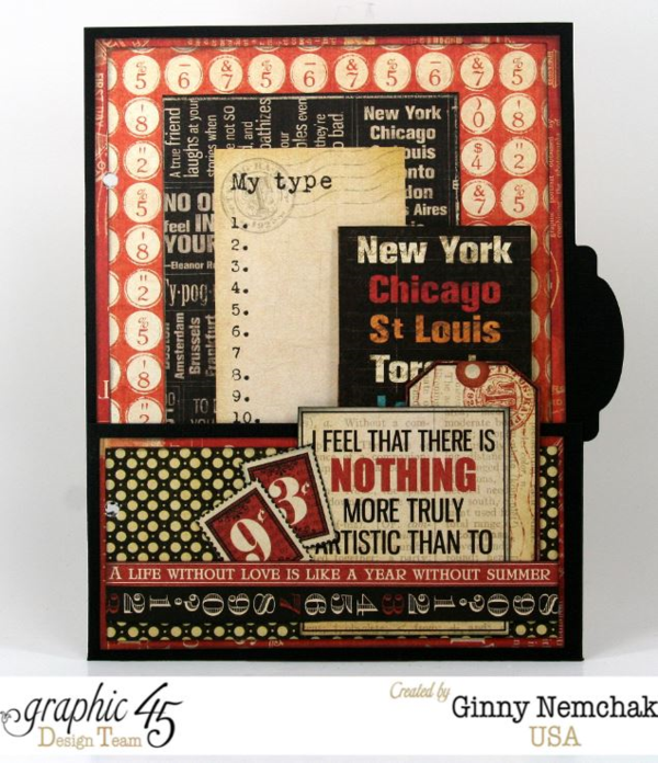 Page 2 of the Typography Mixed Media Planner by Ginny. Awesome layers!  #graphic45