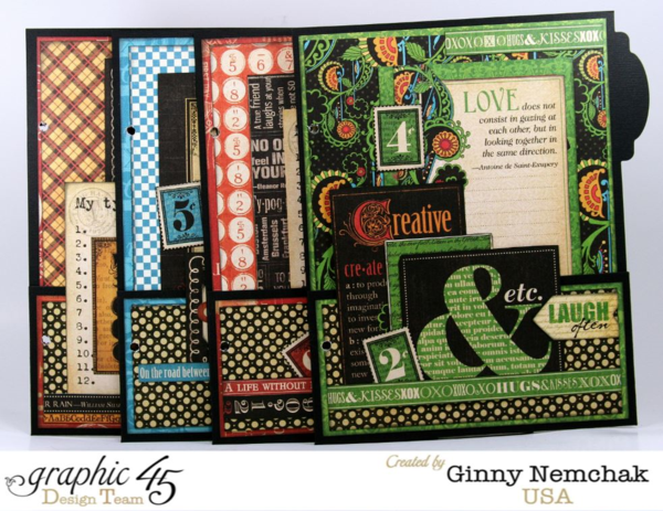 The gorgeous pages of the Typography Mixed Media Planner by Ginny #graphic45