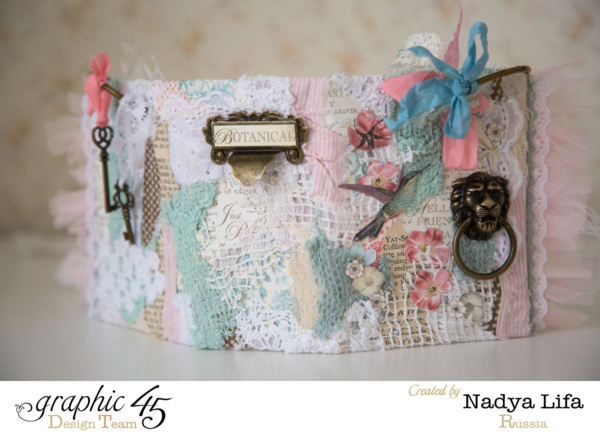 Gorgeous fabric, texture, and more on this Botanical Tea ATC Book Box by Nadya #graphic45