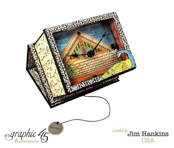 In LOVE with this Artisan Style clock from Jim, the Gentleman Crafter made from an ATC Book Box #graphic45