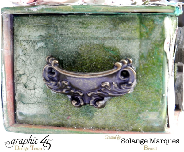 Love how Solange used the Antique Metal Door Pull on the side of her Once Upon a Springtime ATC Book Box #graphic45