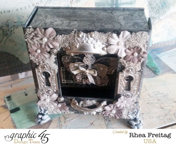Lovely florals and metallic embellishments on this gorgeous Mixed Media Box by Rhea #graphic45