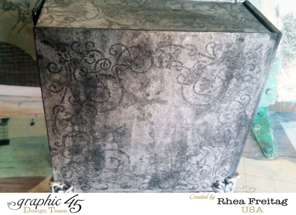 Great techniques on the back of this Mixed Media Box by Rhea #graphic45