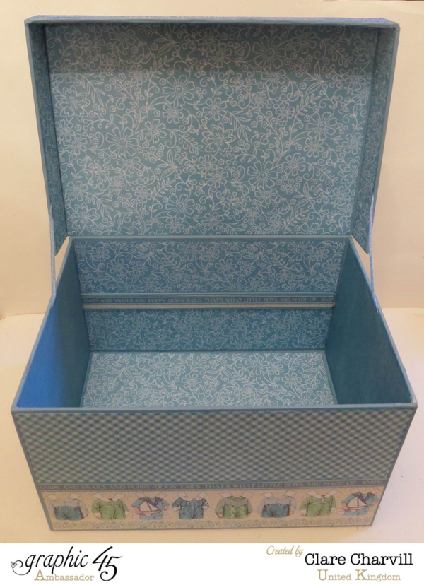 The inside of this Precious Memories Baby Box by Clare Charvill #graphic45