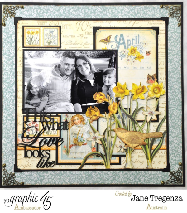 Beautiful family on the right side of Jane's incredibly inspiring April double layout using Time to Flourish #graphic45