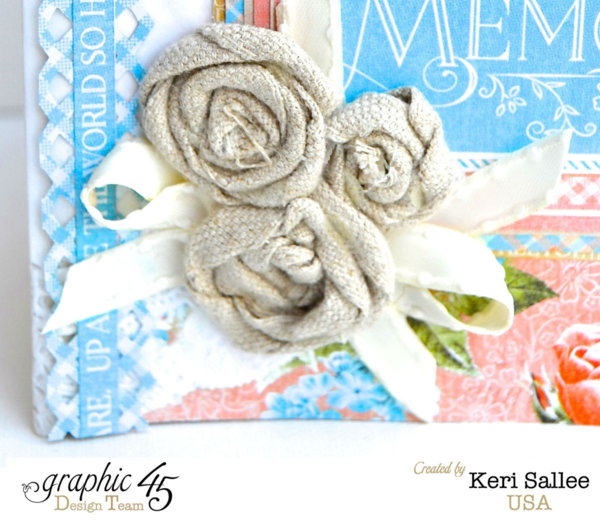 Gorgeous burlap flowers on this Precious Memories album by Keri made with only 2 sheets of paper #graphic45