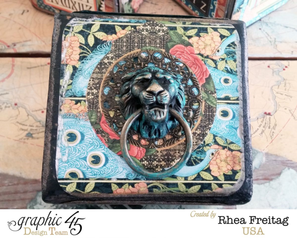 Rhea cleverly uses our Door Knockers on this Artisan Style altered blocks by Rhea #graphic45