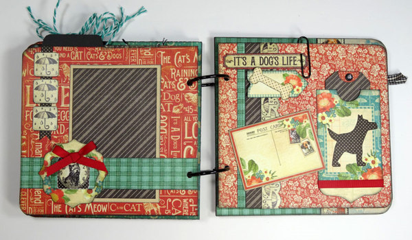 Calling all dog lovers! You'll love the beautiful pages in Annette's Raining Cats & Dogs album #graphic45