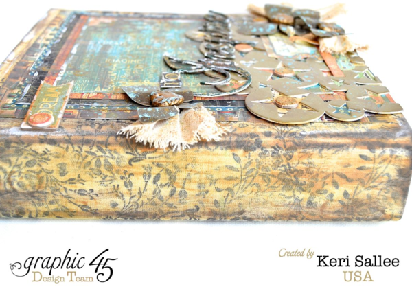 Love the cover and this spine on Keri's mixed media Artisan Style album. Love the dimension! #graphic45