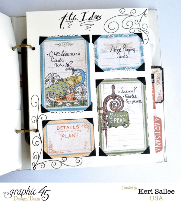 Keri shares her project ideas in her beautiful Artisan Style mixed media album - awesome idea! #graphic45