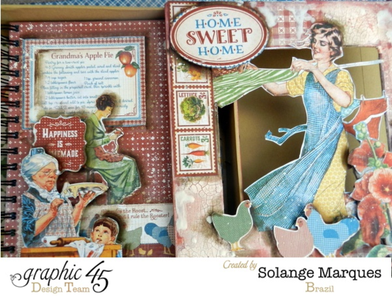Amazing mini album in this mixed media on this Home Sweet Home 8x8 Matchbook Box by Solange! #graphic45