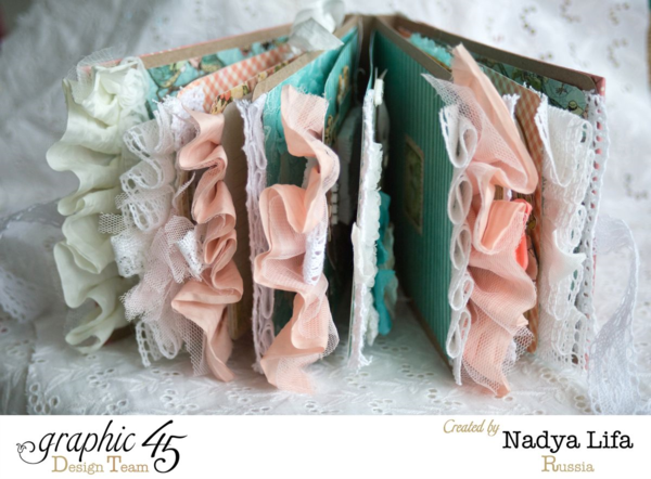 Love the fabric details on this Once Upon a Springtime mini-album by Nadya #graphic45