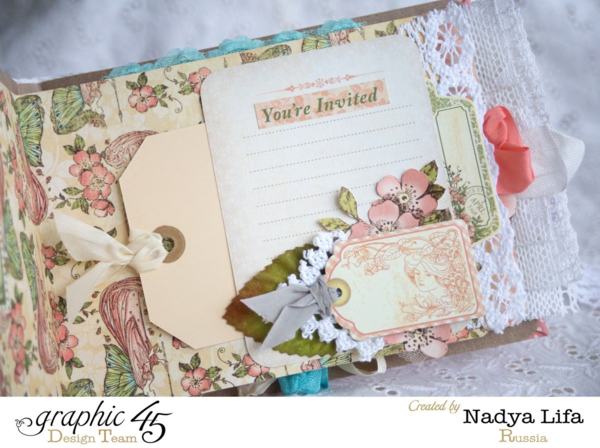 """You're Invited"" page of this Once Upon a Springtime mini album by Nadya #graphic45"