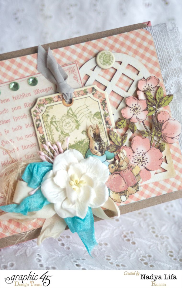 Beautiful flowers and layers on this Once Upon a Springtime mini album by Nadya #graphic45