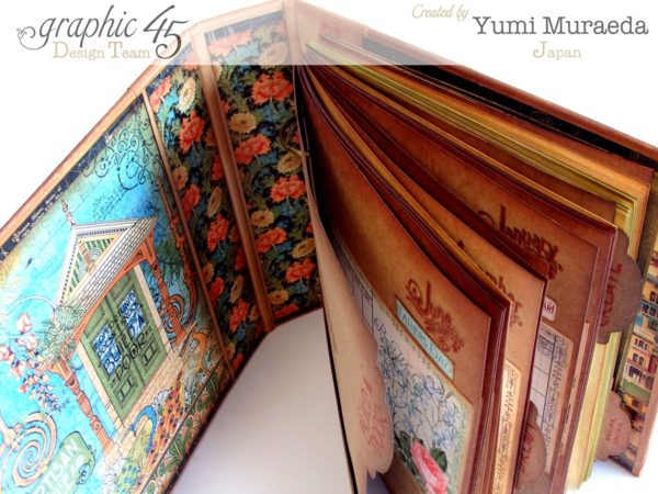 Amazing Artisan Style sketchbook by Yumi using many Graphic 45 stamps and our Mixed Media Album #graphic45