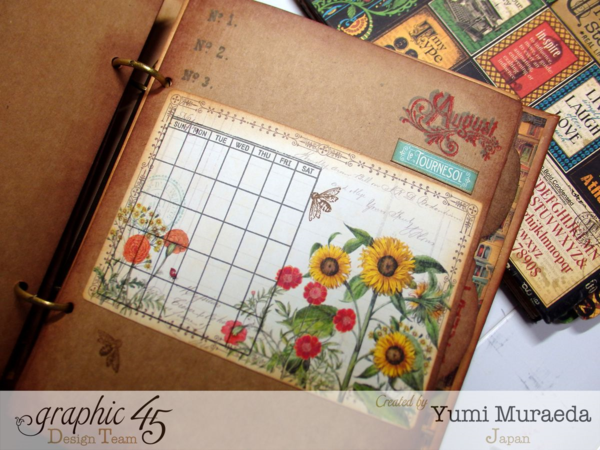 The gorgeous August page on Yumi's Artisan Style sketchbook in our Mixed Media album #graphic45