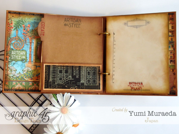 The amazing pages in Yumi's Artisan Style sketchbook using our Mixed Media Album #graphic45