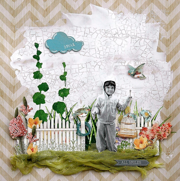 """Smile"" Secret Garden layout by Brit Sviggum #graphic45"