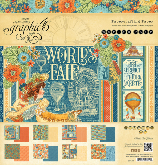 World's Fair 12x12 Paper Pad, this new collection will be in stores in late August #graphic45 #sneakpeeks