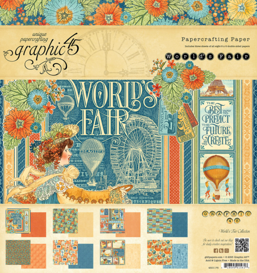 World's Fair 8x8 Paper Pad, this new collection will be in stores in late August #graphic45 #sneakpeeks