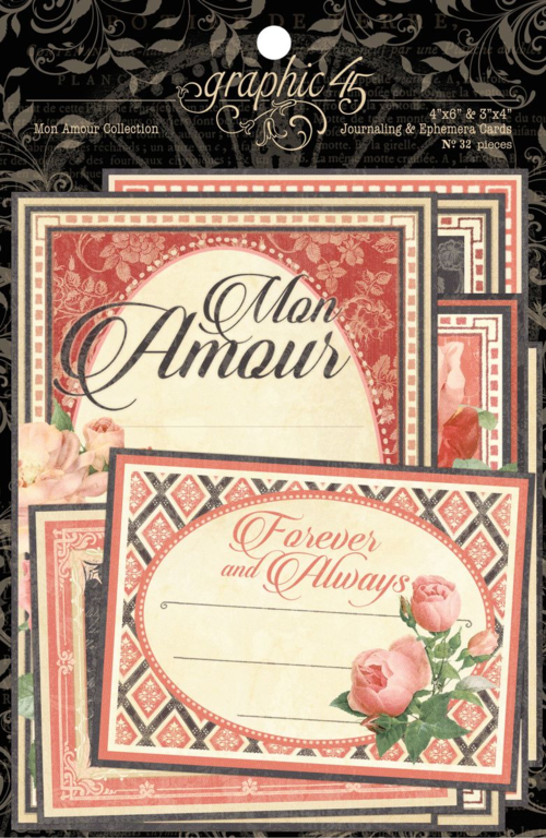 Mon Amour Journaling & Ephemera Cards - This new collection will be in stores in late August 2015 #graphic45 #sneakpeeks