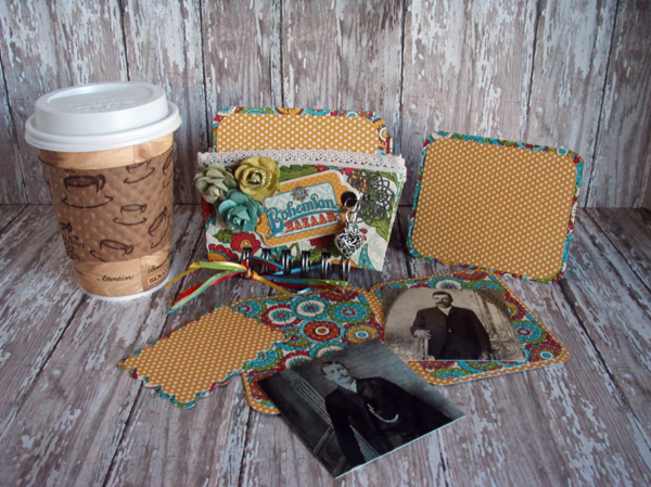 Bohemian Bazaar coffee sleeve mini album by Sharon Lee Wade-Coughlin #graphic45