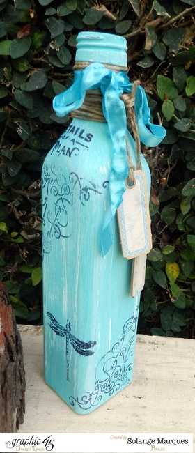 Altered Bottles by Solange Marques using Graphic 45 satmps and chipboard tags