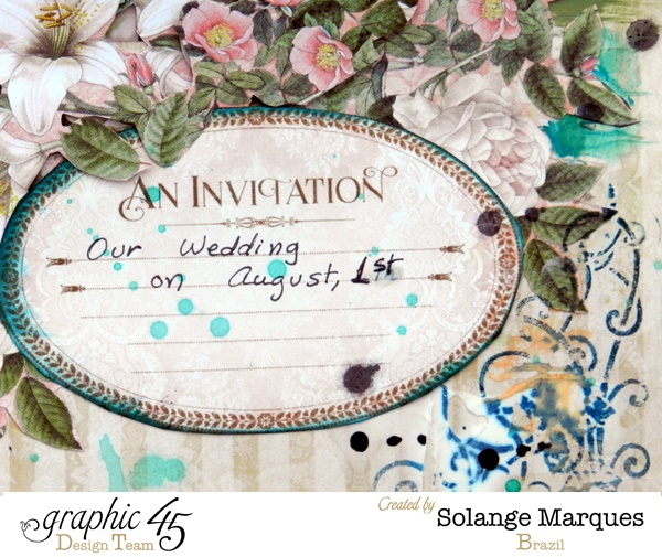 An Ivitation layout by Solange Marques featuring Gilded Lily collection and Faber Casell mixed media products