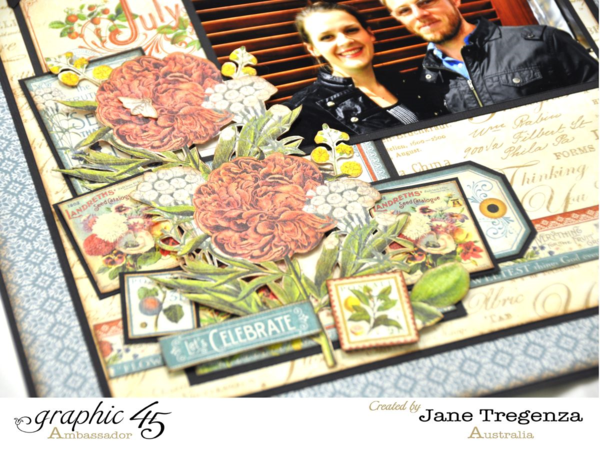 Right close-up of the July Double Layout using Time to Flourish by Jane #graphic45