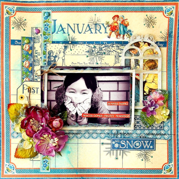 January layout by Irene Tan using Children's Hour and Petaloo flowers #graphic45