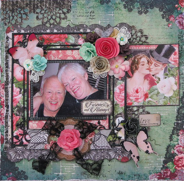 Beautiful layout using Mon Amour by Scraps of Darkness #graphic45