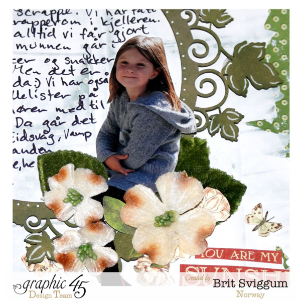 Petaloo blog hop layout using Children's Hour by Brit Sviggum #graphic45